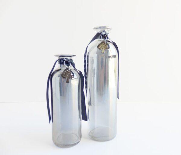 Botella de cristal con lazo