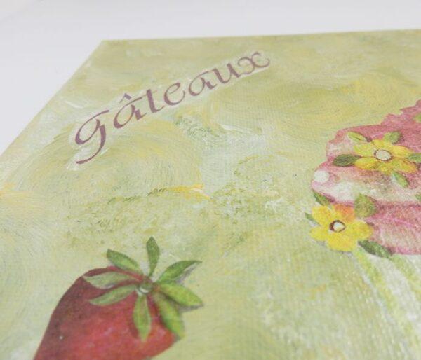 """Detalle lienzo postres """"Gâteaux"""""""