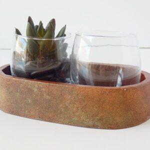 Bandeja Ovalada Ocre con dos vasos