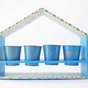 Casita jardinera azul